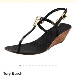 Tory Burch Black Pauline Demi Cork Wedges Size 9M